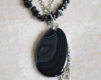Black Onyx Pendant - Boho Long Necklace - Large Black Pendant - Black Layered Necklace - Onyx Jewelry Set