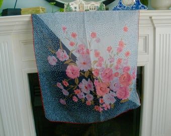 Vintage Floral And Poker Dot Scarf
