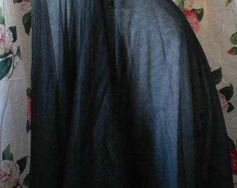 Vintage Jet Black Double Sheer Chiffon Gown Nightgown Undercover Wear Lingerie M/34