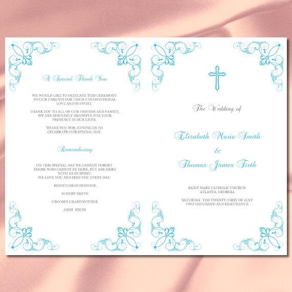 Catholic Wedding Program Template Diy Malibu Blue Booklet