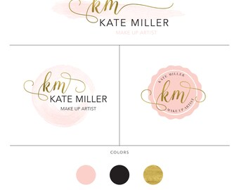 Premade Branding Package, Blush Pink Watercolor, Make up artist Logo, Complete Logo Design Set, Small Business Branding, Badge Logo Set