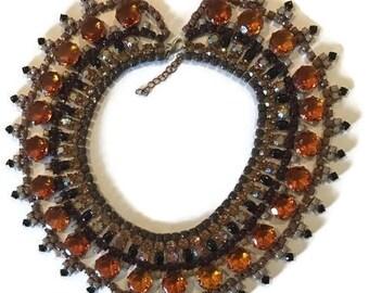 CARAMELLO hand painted rhinestone super statement necklace