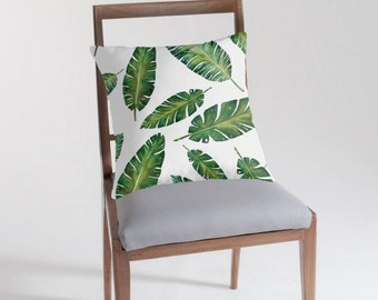 Palm Leaves Pillow - Leaf Pillow Cover - Tropical Indoor or Outdoor Pillow - Botanical - Green Leaves - Modern