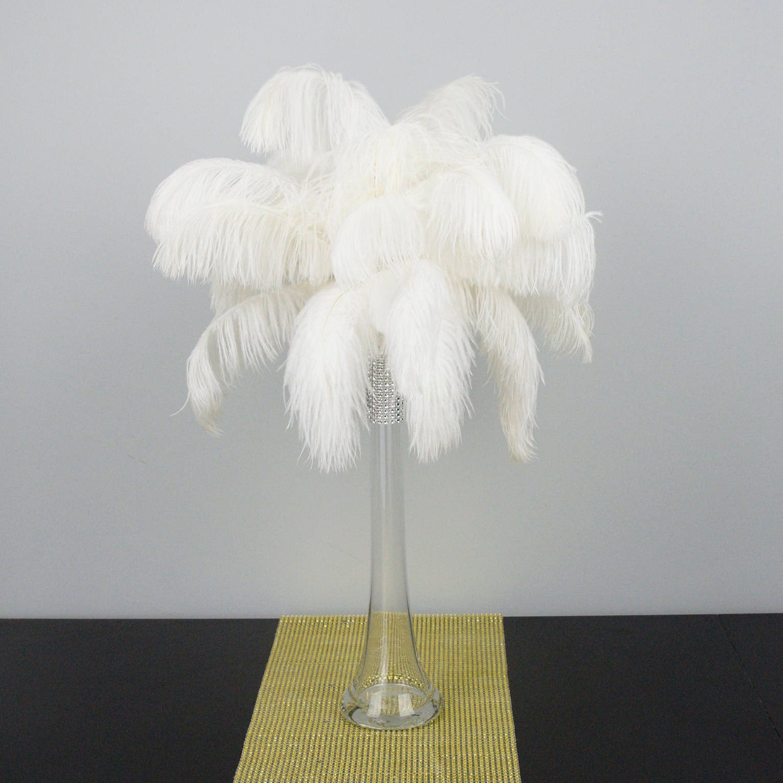 Tall ostrich feather centerpiece kits with round
