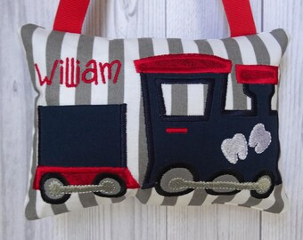 Train Tooth Fairy Pillow Boy Personalized, Custom Toothfairy, Loose Tooth, Boys Tooth Pillow Train, Baby Shower Gift