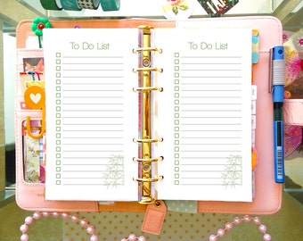 TO DO List Printable Personal Size 3.7 x 6.7 PDF Filofax Undated Printable Refills To Do List Notebook Printable Inserts. Instant Download.