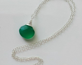 Green Chalcedony Necklace, Sterling silver  Necklace, Green Chalcedony Pendant, Small Silver Necklace, Silver Green Chalcedony Necklace