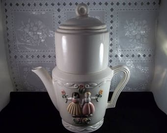 Vintage Art Deco Porcelier Coffee Teapot  Dutch Boy & Girl Hand Painted