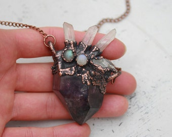 Large Electroformed Amethyst Crystal & Clear Quartz Spike - Labradorite - Moonstone - Crystal Gothic Witchy Pendant/Necklace Copper