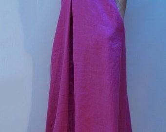 Summer Linen Dress/Loose Dress/Long Casual Dress/Kaftan/Asymmetrical Tunic/Beach Dress/Pink Dress/F1144