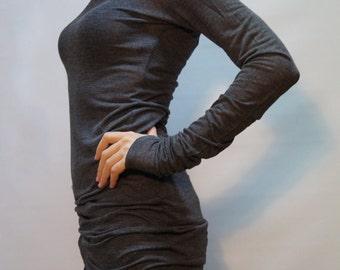 Gray Long Sleeve Tunic Top/Womens Casual Blouse/Long Sleeves Dress Top/Casual Maxi Shirt Top/F1348