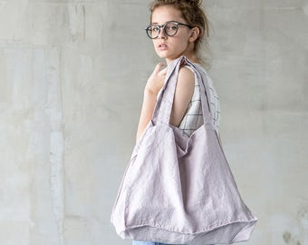 Large linen tote bag / linen beach bag / linen shopping bag in ashes of rose