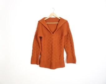 Vintage 70s Orange Rust Color V Neck Tunic Hippie Boho Sweater Size M