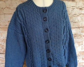Vintage Hand Knitted Cardigan Sweater Arran Style Denim Blue Wool Geek Chic Preppy Country Large c 1960s