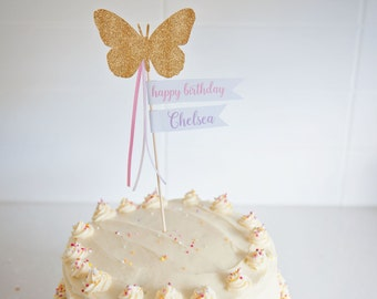 Butterfly Wand Cake Topper, Cake Topper, Birthday Cake Topper, Custom Cake Topper
