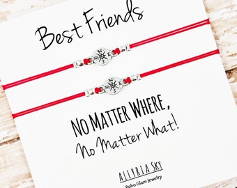 """Set of Two Charm Friendship Bracelets with """"Best Friends, No Matter Where"""" Card 
