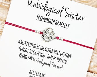 """Charm Friendship Bracelet with """"Unbiological Sister"""" Card   BFF, Best Friend Gift Jewelry   Soul Sisters   For Bestie, Bridesmaid"""