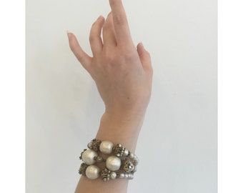 Vintage 1980s - 90s signed Miriam Haskell Statement Bracelet