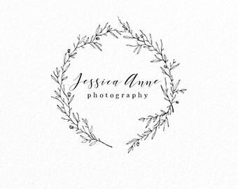 Modern Logo | Wedding Logo | Photography Logo | Event Planner Logo | Whimsical  | Wreath | Floral Logo | Leaf Logo | Branding | Simple Logo