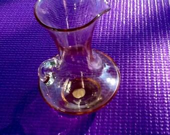 Art Glass Pink Pitcher. Pink Glass Pitcher, Creamer. Serving Ware. Lovely Pink Art Glass Small Pitcher.