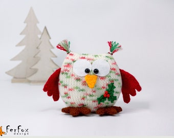 Plush owl Christmas gift Stuffed owl doll Christmas decor owl Stuffed animals Winter holiday gift Hand knit owl toy Xmas decor Christmas toy