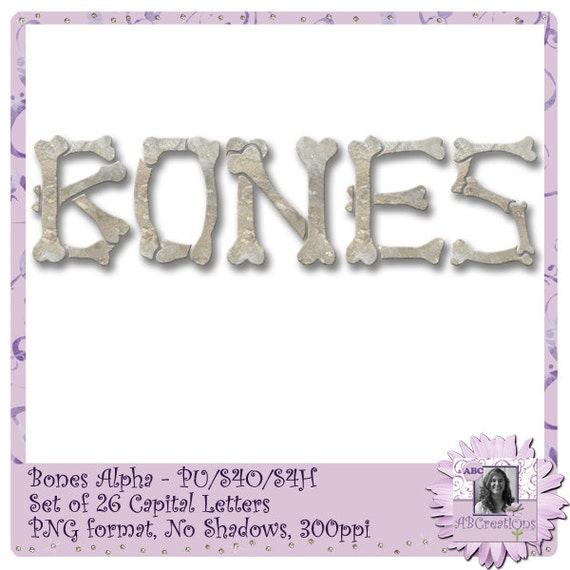 Bones Alphabet, Bones Font, Bones Text, Halloween, Skeleton