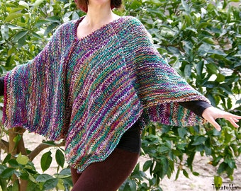 Knit Poncho, Knitted Hippie Sweater, Womens vegan clothing,  Poncho Cape, gift for her, Boho clothing