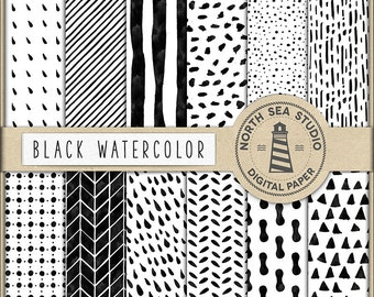 BLACK ART, Watercolor Digital Paper, Hand Painted Watercolor Patterns, Triangles, Stripes, Rain Drops, Spots, Coupon Code: BUY5FOR8