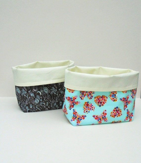Handmade Fabric Storage Baskets : Handmade fabric bin storage basket craft room bread