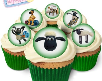 Shaun the Sheep: 24 Edible round wafer cake toppers. Designed and made in the UK!