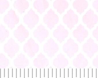 Pink mini quatrefoil fabric from Fabric Finders, pastel pink quatrefoil fabric, baby pink easter fabric by the yard, light pink quatrefoil