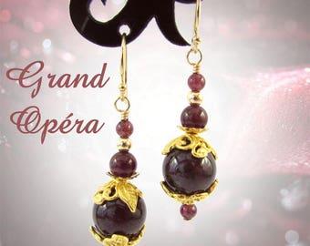 Garnet earrings, gold vermeil and gold filled garnet earrings