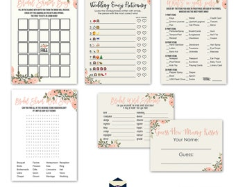 Floral Bridal Shower Game Package - Blush Watercolor -  Bingo - Word Scramble - Word Search - Beach Bridal Shower - Bridal-152