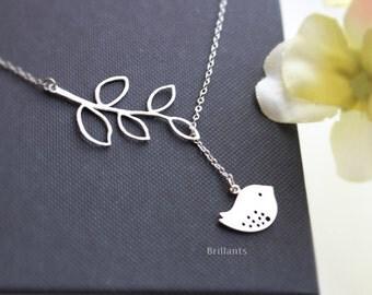 Branch and Bird Lariat in silver, Y necklace, necklace,  Sparrow, Bridesmaid jewelry, Everyday necklace, Wedding necklace