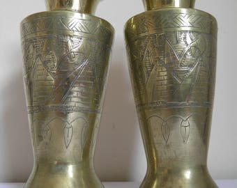 Pair Vintage Brass Egyptian Vases Engraved Pyramids Sphinx etc