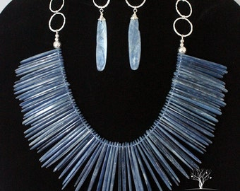 Rare Blue Kyanite and Sterling Silver Big Bold and Chunky Statement Bib Spiked Necklace with Matching Earrings
