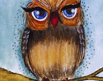 Owl drawing nursery room decor/ Owl painting for kid room/Owl illustration/Nursery wall art/Owl print 8x10/Cartoon owl print/Print nursery