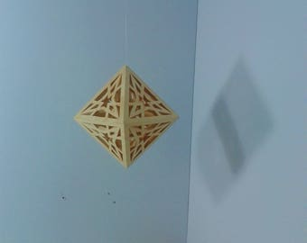 Platonic Solid - Double Tetrahedron or Octahedron - Polyhedral Wood Geometric Shape - Decorative Hanging Wooden Moble