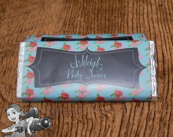 Floral Babyshower Chocolate Wrapper