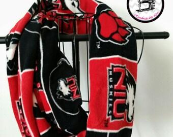 Northern Illinois University Huskies Football Scarf,  Unisex Infinity Scarf, Fleece, Handmade, Gift