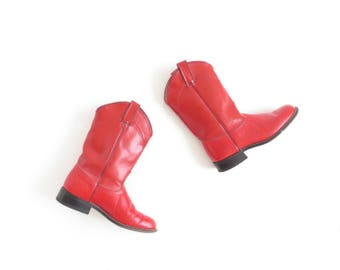 Red Cowboy Boot Womens Leather Boot Cowgirl Boot Glam Rock Punk Western Boot Laredo Boot Alligator Boot Size US 7-7.5, EU 37.5-38, UK 5-5.5