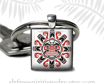 Simple Native Alaskan Art Key Chain Pacific Northwest Eclectic Art Black and Red