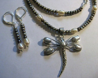 platinum pearl DRAGONFLY SET earrings necklace pendant STERLING lever backs 18 inches to 20 inches adjustable