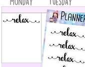 Word Stickers Relax Sticker Planner Stickers Lettering Writing Stickers for use with Erin Condren LifePlanner™ Planner Accessories - 497