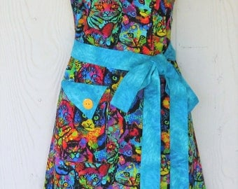 Cat Lovers Apron, Psychedelic Cats, Kitty Apron, Retro Full Apron, Women's Apron, KitschNStyle