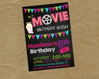 MOVIE Birthday Party Invitation  - Digital or Printed Theater Drive In Movie Watching