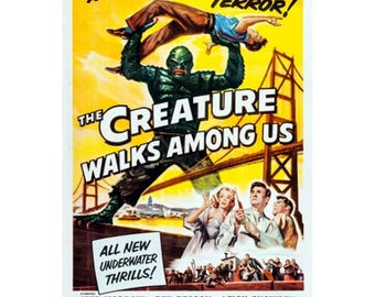 The Creature Walks Among Us Movie Poster - Classic Science Fiction Horror Movie Poster - Vintage Film Print / Posters