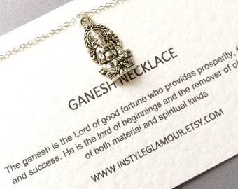 Ganesh Necklace, Silver Ganesh Necklace, Ganesha Necklace, Spiritual Jewelry, Birthday Gift,Mothers Day Gift