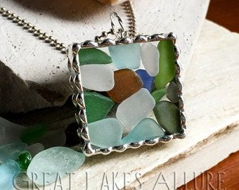 Large Beach Glass Pendant, Seaglass Jewelry, Beach Glass Jewelry, Great Lakes Beach Glass, Soldered Pendant, Colorful Jewelry, Stained Glass