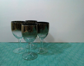 Vintage Wine Glasses w/ Silver Band - Stemmed Glass Set of Four - Retro Mod Barware Home Decor - 1950s 1960s